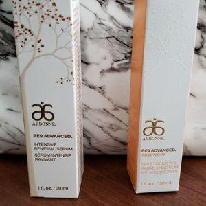 Arbonne serum and sunscreen